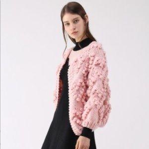 Gray NWT Chicwish Pom Pom sweater cardigan